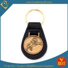 Großhandelsgewohnheits-Goldüberzug-Löwe-Abzeichen-Metallleder-Schlüsselring für fördernde Geschenke