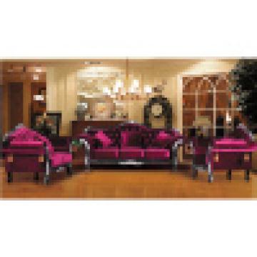 Sofá clássico com moldura de sofá de madeira e mesa (d987)