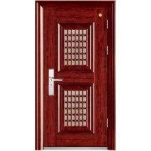 Puerta de acero con puerta pequeña, dos puertas