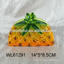 2016 hot selling ceramic napkin holder with pineapple design