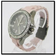 Chegou novo silício cristal relógios liga case relógio banda de silicone