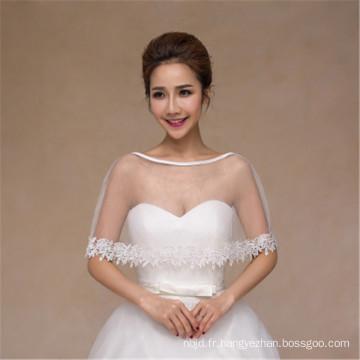 Mode féminine très concise robe de mariage blanc appliques en dentelle châle en dentelle blanche