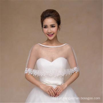 Moda feminina lindos e concisos vestidos de casamento brancos appliques de renda branco lacado de renda
