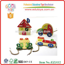 2015 New Design Animal Lacing Toy,Classic Wooden Lacing Toy,Colorful Lacing Toy