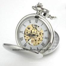 Hot Sale Mechanical Skeleton Pocket Watch com Cadeia