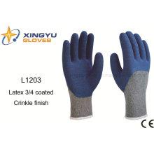 10g T / C Shell Latex guante de trabajo de seguridad de arrugas 3/4 recubierto (L1203)