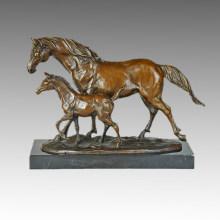 Animal Bronze Sculpture Mother-Son Horses Walking Brass Statue, Milo Tpal-257