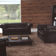 Chesterfield Leather Upholstered Crystal Buttons Sofa Set