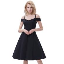 Belle Poque Spaghetti Straps High Stretchy A-Line Black Retro Vintage Swing Dress BP000390-1