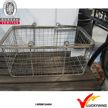 Rustic Double Handles Metal Handmade Decorative Wire Basket