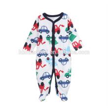 Facotry price winter baby onesie 2017 newborn long sleeve car printed baby boy romper