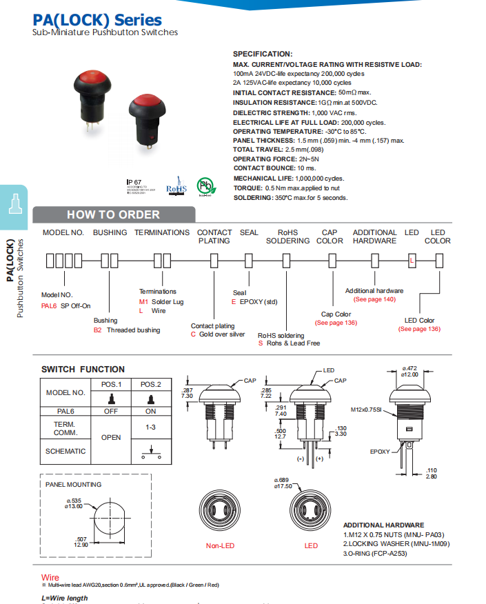 Lock Pushbutton Switch