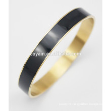 Stainless steel with 18k gold filled round black enamel bangles