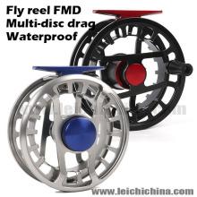 Carrete de mosca de pesca de arrastre impermeable Mulit-Disc