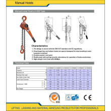 Lifting Material Lever Hoist 0.25 Ton to 5 Ton