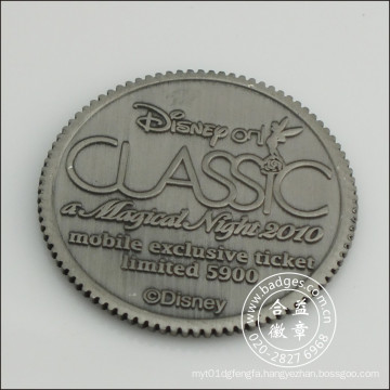 Antique Silver Plated Metal Coin with Engraved Logo (GZHY-JZ-083)