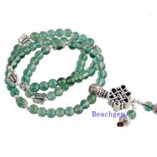 Green Quartz Beads Bracelet with Silver Charm (BRG0024)