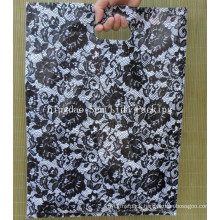 Printed Black Rose PE Die Cut Bags for Gift Packing
