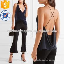 Velvet and Crepe Plunging Neckline Camisole Manufacture Wholesale Fashion Women Apparel (TA4102B)