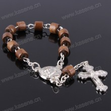 Hot Sale Cylindrical Coffee Wood Beads Bracelet with Cross