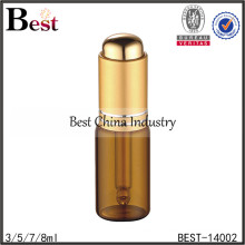 5ml high quality amber essential oil bottle with dropper, glass essential oil bottle, thumb press dropper bottle supplier