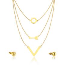 Chapado en oro flecha venta caliente capas collar venta al por mayor mujeres estilo joyería conjunto