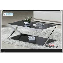 Black Tempered Glass Tea Table (XF-1406)