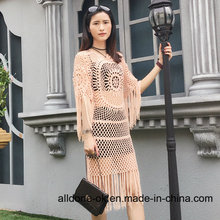 New Fashion Hand Crochet Summer Long Dress with Fringes