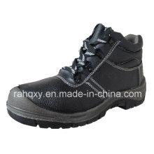 Black Split Embossed Leather Upper Safety Shoes (HQ01016)
