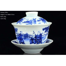 """""""Chinese Kids Playing"""" Blue and White Gaiwan 200cc"""