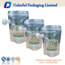 2016 China ODM plana transparente stand up bico bico bolsa de suco reutilizável bolsa com ziplock inferior