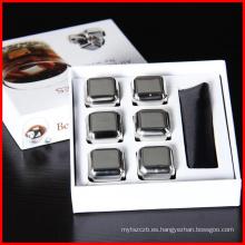 Piedras de whisky de vino de alta calidad 304 Piedras de hielo de whisky inoxidable Cubo de hielo