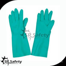 SRSAFETY industrial anti oil and anti chemical gloves/nitrile gloves washable/ Green Nitrile Industrial Gloves