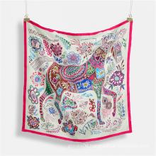 New Popular Colorful Horse Printed Women Stylish Bandana Polyester Silk Square Hair Wraps Foulard Neck Scarf