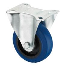 Roulette de la série Middle Duty - Rigide - Caoutchouc élastique bleu (roulement à rouleaux)