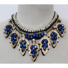 Леди мода ювелирные изделия синий Кристалл бусины воротник ожерелье (JE0138)