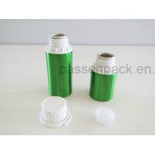 Garrafa de alumínio metal verde com tampa à prova de adulteração branco