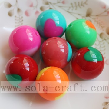 Colorful Heart Printed Solid Round Beads Wholesale