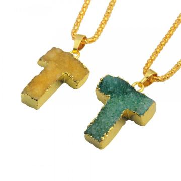 Colorful Crystal Alphabet Letter T Pendant Necklace