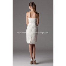Gaine colonne de longueur genou bretelles dentelle robe de mariée de ruban