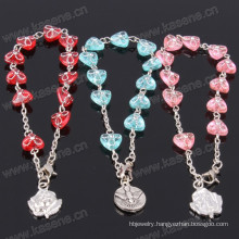 Wholesale Many Colour Round Plastic Rosary Bracelet with Saint Pendant