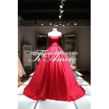 Высокое качество бальное платье свадебное платье чистой девушке/кремового цвета с бантиком красивое современное свадебное платье без бретелек на 2016 год