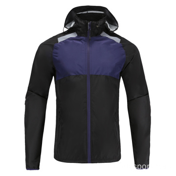 Hommes Soccer Wear Zip Up Hoodies Bleu