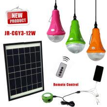 Em casa uso alta qualidade 12W painel solar/3 * 3w lâmpadas sistema de energia Solar de led