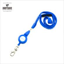Пользовательский печатный синий трубчатый шейный ремень с синим брелком