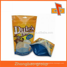 Laminated material and excelent printing plastic dog treat bag/dog food packaging bag with zipper