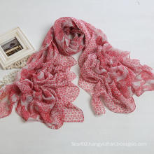 Fashion Cashew Printing Scarf Polyester Voile Women′s Long Scarf, Red Color Shawl (PP038AL)