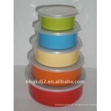 5pcs conjuntos de tigela esmalte de armazenamento com tampa
