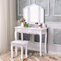 Tri Folding Mirror White Vanity Makeup Table Stool Set with Drawers