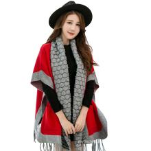 2017 Winter Garment Shawl Fashion Knitted Viscose Pashmina Shawl Fringe With Sleeves Pockets